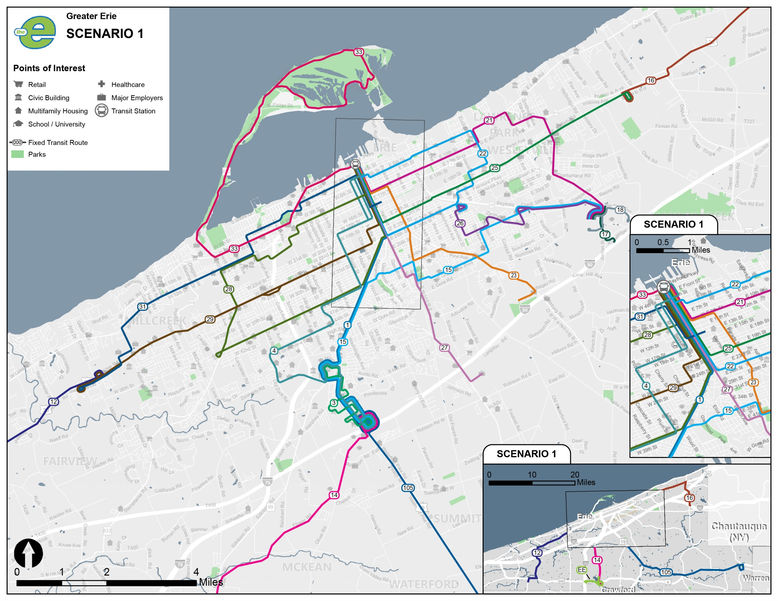 Scenario 1 of the EMTA bus route.